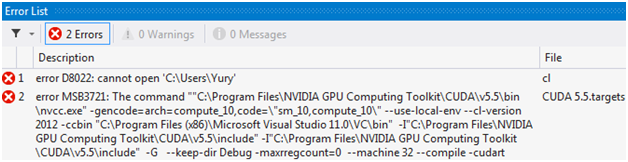 Build errors of a new NVIDIA CUDA 5.5 Runtime project in Microsoft Visual Studio 2012. Error D8022