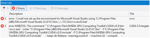 Build errors of a new NVIDIA CUDA 5.5 Runtime project in Microsoft Visual Studio 2012