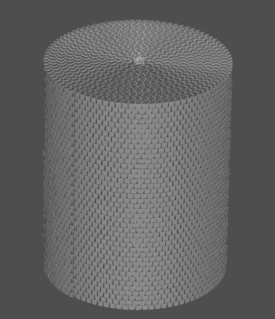 Computational mesh,which is constituent of voxels, situated on a sheet and twisted into cylinder